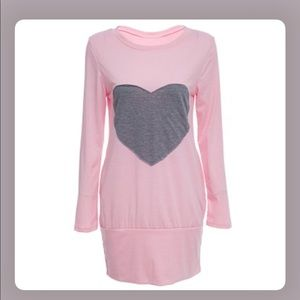 Pink  Long Sleeve Heart Print Sleepwear